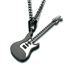 Women Men Lovely Musical Guitar Charm Pendants Necklace Stainless Jewelry Gifts