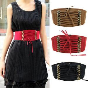 Women Waist Belts Band Wide Elastic Buckle Cinch Corset Lace Up Dress Waistband