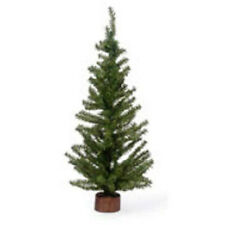 24 Inch Green Artificial Canadian Pine Tree Wood Base Mini Miniature Craft New