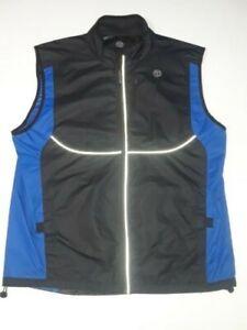 Golds Gym Vest Full Zip Reflective Windproof Rain Resistant Large Blue Black