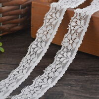 5Yards White Elastic Lace Trim Ribbon Fabric 2.5cm Decor Crafts Sewing Suppies