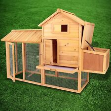 "83"" Wooden Chicken Coop Hen House Pet Animal Poultry Cage Rabbit Hutch w/Run"