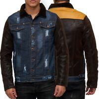 Herren Übergangsjacke Destroyed Jacke Übergang Jeans Optik Leder weich gefüttert