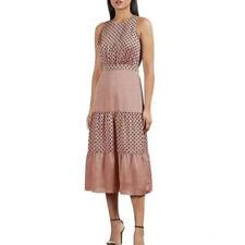 AUTH Ted Baker Mix Polka Dot Midi Dress Dusky Pink 0-4,6