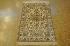 3x5 Silk Tabriz Hand-Knotted Discounted Rugs Cream - Light Yellow Carpet