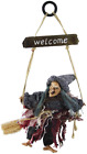 Hanging Animated Witch on Broomstick Halloween Decoration Dolls Pendant Haunted