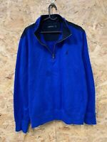 Men's NAUTICA 1/4 Zip Neck Fleece Jumper Pullover Size L Large Blue Vintage VTG