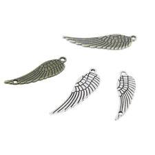 25 piezas/lote alas encantos Tono Plata/Bronce Tono Alas de Ángel Colgantes 30X9mm