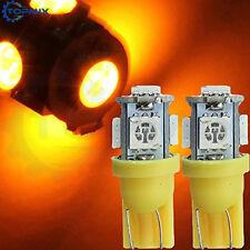 ORANGE T10 5LED X 2 Car Side Indicator Light Bulbs 9mm 10mm Push In Globes 501