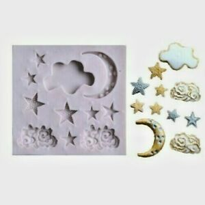 Aus Seller...MOON STARS and CLOUDS. SILICONE MOULD...Fondant/chocolate....new
