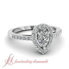 3/4 Carat Pear Shape Cathedral Diamond Rings Pave Set For Her With Round Accents