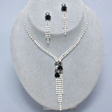 Black diamante necklace set roses sparkly bling prom evening rhinestone 0426