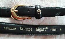 Etienne Aigner Women's L Black Leather Belt
