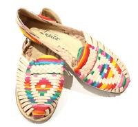 Artesanias Lupita Leather Huaraches size 24 (8) Womens Flat Loafers BOHO Tie Dye