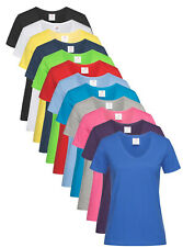 Womens Ladies Fit 100% Cotton Short Sleeve V-Neck Vee Neck Tee T-Shirt S-XXL