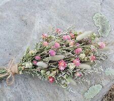 Dried Flower Bouquet Arrangement Pink Pastel Strawflowers Globe Amarath Med Size