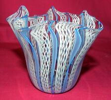 BEAUTIFUL MURANO LATTICINO ART GLASS MURANO ITALY HANDKERCHIEF VASE BLUE & WHITE