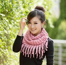 Women Winter Warm Infinity 2 Circle Cable Knit Cowl Neck Long Scarf Shawl Glamor