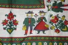 Vintage Ladies Scarf Baumwolle Cotton Folk Art,  Hand Rollled Hand stitched Hem