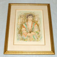 "Vintage Edna Hibel 32"" Framed Litho Joseph in Robe of Colors VII 28/33 ed. 335"