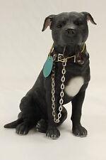 Black Staffie Staffordshire Bull Terrier Dog Ornament 'Walkies' by Leonardo NEW