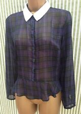 Chiffon Checked Long Sleeve Blouses for Women