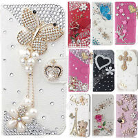 Flip Bling Diamonds Pearls Crystal Faux Leather Stand Wallet Case For Motorola