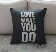 Vintage Love What You Do Cotton Linen Cushion Cover Throw Pillow Home Decor S78