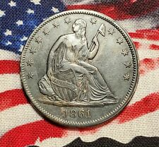 1861 CH Au+/BU Better Date Liberty-Seated Half Dollar From Right Bank Roll MS+