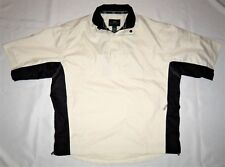 TOURNEY Golf Jacket LARGE 1/2 Zip & Snap Pullover Zip Sides Off-White & Black