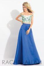 Rachel Allan 6081 Royal Blue Crop Top Ball Gown Dress sz 0