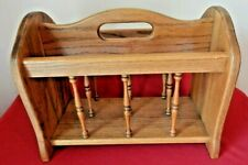 Vintage Solid Oak Magazine Rack-Early American-2 Compartments EXCELLLENT COND.