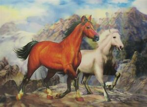 Poster Print 3d picture of two mustangs, great for Home Decoration H024