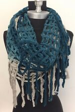 New Women FASHION Fringe Knit 2-Circle Cable Cowl Infinity Scarf Soft Teal/Gray