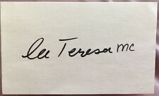 MOTHER TERESA Hand Signed Autographed 3 X 5 CARD  W/COA