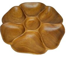 Vintage Monkey Pod Wood Lazy Susan Divided Serving Tray/Dish MCM