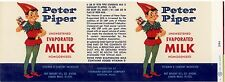 CAN LABEL VINTAGE 1950S BOSTON MASS ORIGINAL PETER PIPER EVAPORATED MILK ELF