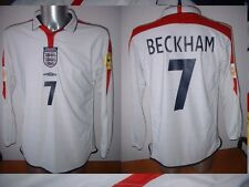 England David Beckham Man Utd Football Soccer Shirt Jersey Uniform UMBRO M L/S