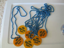 """CORONA EXTRA & LIGHT - BEER - BLUE BEADED CHAINS & YELLOW DISC . 6 NEW 16"""" HUNG"""