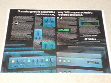 Yamaha 1979 Ad, 2 pg, C-4 Preamp, M-4 Power Amp, Article, Info, Rare Info!