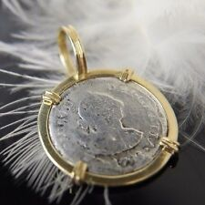"""Vintage 14k Yellow Gold 1 1/8"""" bezel & 1788 real coin pendant for a necklace"""