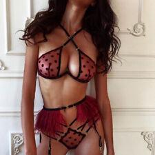 Lady Fashion Lingerie Lace Babydoll Pajamas Polka Dot Strap Bra Underwear Set