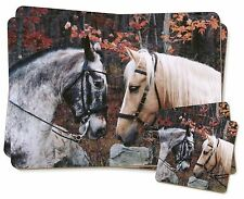Horses in Love Animal Twin 2x Placemats+2x Coasters Set in Gift Box, AH-5PC