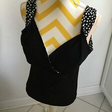 New Suzie In The City Solid Black Top Lined With Polka Dot Lining Size XL
