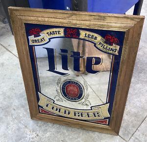 "VTG 1980 Miller Lite Beer Sign ""Great Taste Less Filling"" Framed Mirror 29""x23"""