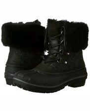 Crocs AllCast II LUXE SNOW Duck BOOTS BLACK 5 Winter Fur Waterproof Lace Up Shoe