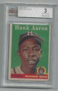 Hank Aaron   1958 Topps #30    BVG 3   Milwaukee Braves   HOF