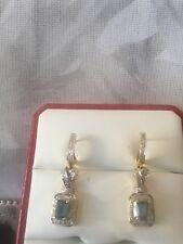 High End 14k Two-tone Gold Topaz Diamond Earings