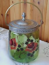 Antique French mouth blown Crystal Glass Art Nouveau Biscuit Cookie Jar basket