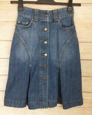e8e907049b Kookai Blue Button Down A line Pleat High Waisted Denim Skirt Size 8  Stonewash